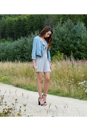 sky blue faux denim jacket - heather gray skater Primark dress