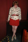 Red-dress-white-1950s-vintage-coat-orange-1950s-vintage-lilly-dache-hat