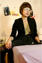 black vintage blazer - black Urban Outfitters dress - brown vintage hat
