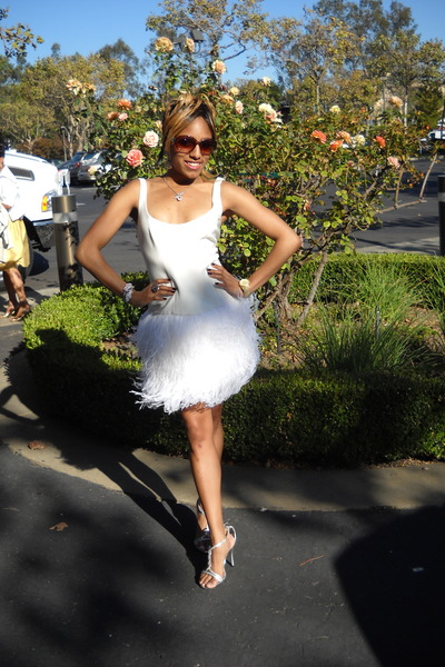 white boxy feathered saks dress - silver t-strap jeweled heels