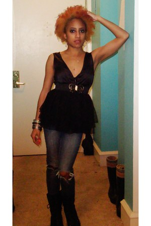 black Moda boots - blue ripped jeans Delias jeans - black tutu shirt Sarah Wayne