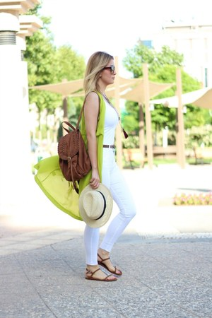 white Mango pants - beige H&M hat - brown H&M bag - brown H&M sandals