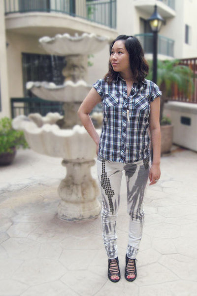 H&M blouse - Topshop jeans - jeffrey campbell for LF
