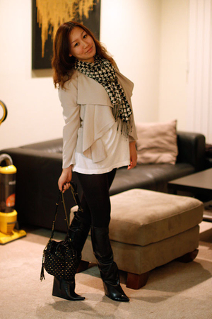 beige H&M blazer - black Forever 21 scarf - black balenciaga boots - white Forev