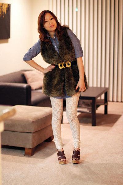 brown Nordstrom vest - beige H&M leggings - blue American Apparel dress - brown