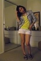 Zara jacket - f21 top - Secondhand shorts - Zara shoes - etienne aigner purse -