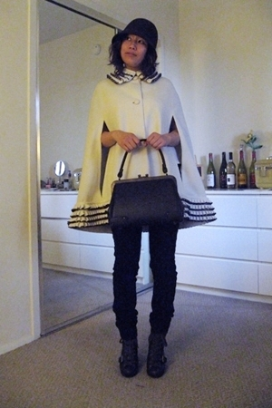 white 60s cape lilli ann coat - brown booties Nine West shoes
