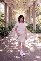 black H&M blouse - gold shoes - white vintage purse - white ruffle f21 socks