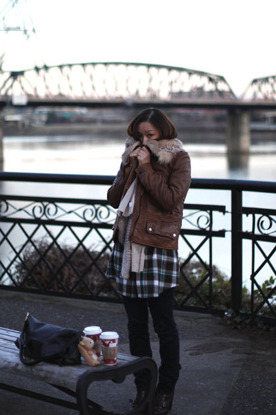 brown Zara jacket - blue random dress - blue J Brand jeans - beige Urban Outfitt