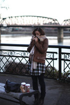 brown Zara jacket - blue random dress - blue J Brand jeans - beige Urban Outfitt