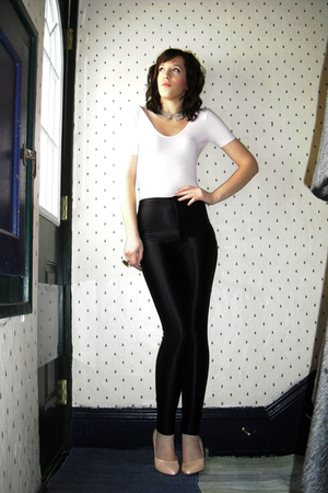 black disco American Apparel pants - pink H&M shoes