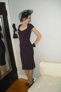 Purple-stop-staring-dress-black-vintage-hat-silver-vintage-accessories-bla