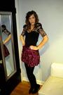 Black-forever-21-dress-pink-forever-21-skirt-black-forever-21-tights-silve