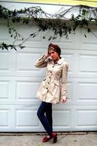 beige H&M coat - brown vintage shoes - brown Forever21 scarf