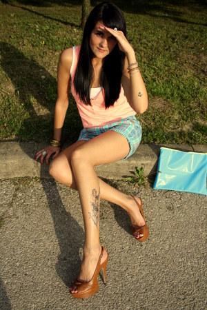 DIY bag - H&M shorts - Joxy heels - H&M t-shirt - Accessorize accessories - Bers