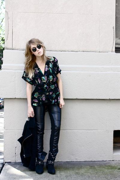vintage boots - vintage sunglasses - vintage top - Neon Hart pants