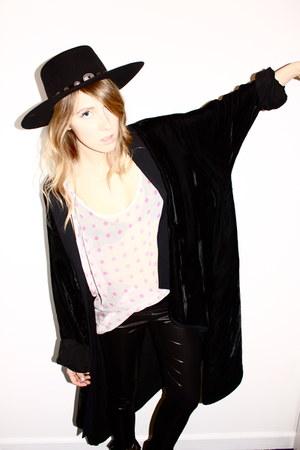 Stetson hat - UO leggings - vintage cape - Topshop top