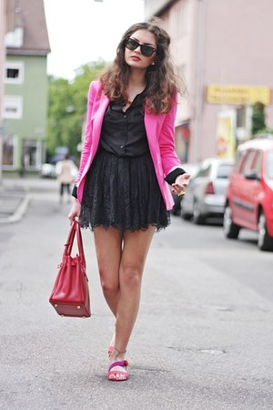 hot pink Zara blazer - red Ebay bag - black H&M skirt - black H&M blouse