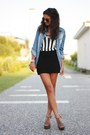 Blue-pimkie-blouse-eggshell-h-m-top-black-h-m-skirt