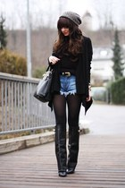 black Choies boots - black Prada bag - blue romwe shorts - black H&M cardigan