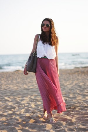 romwe skirt - romwe belt - H&M top - Zara sandals