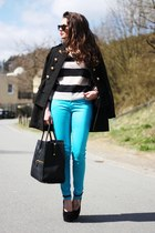 turquoise blue Motel Rocks pants - black Nelly wedges