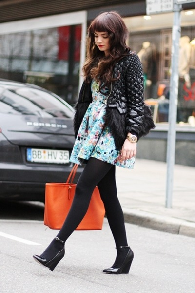blue Sheinside dress - black Sheinside jacket - orange Michael Kors bag