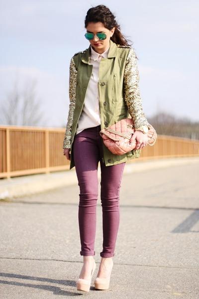 nude Pimkie blouse - maroon Oasis jeans - dark khaki Missguided jacket