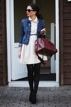 brick red VJ-style bag - cream Chicwish dress