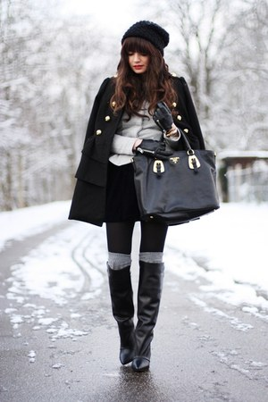 black Zara boots - black New Yorker coat - heather gray asos blazer