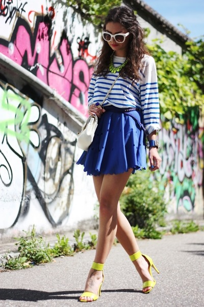 blue VJ-style skirt - yellow Zara necklace - yellow H&M sandals