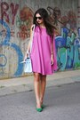 Hot-pink-nelly-dress-blue-vintage-from-ebay-bag-chartreuse-nelly-heels