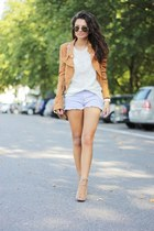 light purple Primark shorts - tawny H&M jacket - white romwe sweater
