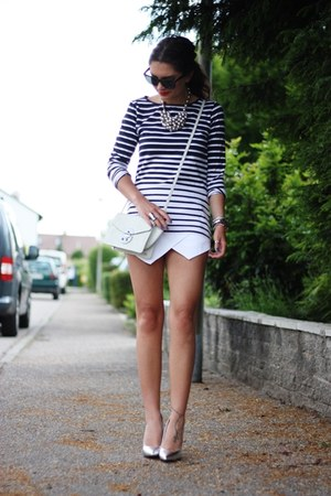 white Sheinside shorts - off white Gaya bag - heather gray Choies pumps