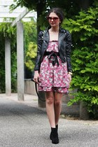 hot pink Zara dress - black asos boots - black H&M jacket - black Primark bag