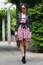 hot pink Zara dress - black asos boots - black H&M jacket - black Primark bag