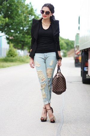 black lookbookstore blazer - sky blue Sheinside jeans
