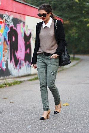 army green H&M jeans - black New Yorker jacket
