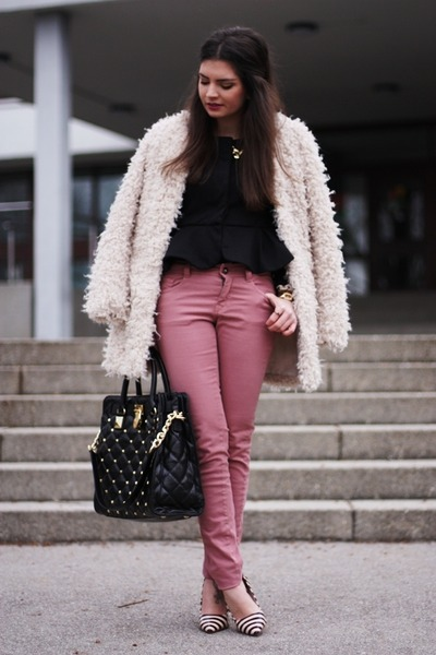 Michael Kors bag - romwe coat - Pimkie jeans - dune pumps