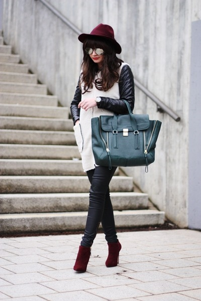 dark green Phillip Lim bag - brick red Carvela boots - black lookbookstore coat