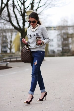 heather gray Mango sweater - blue Oasis jeans - dark brown Louis Vuitton bag