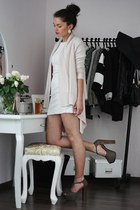 heather gray Nellycom heels - off white Primark dress - neutral H&M cardigan