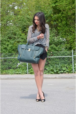 army green Phillip Lim bag - black Sheinside shorts - black Sheinside blouse