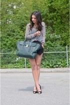 army green Phillip Lim bag - black Sheinside shorts - black Sheinside blouse