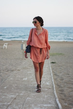 blue Primark bag - coral Vila dress - brown Zara sandals