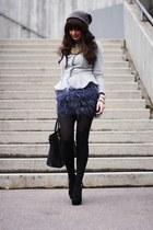 blue Zara skirt - heather gray asos blazer - black Prada bag