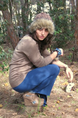 blue Forever 21 dress - dark brown fur lined Billabong hat - light brown Forever