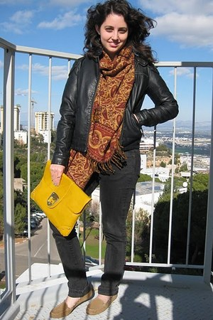 leather Cubus jacket - crimson From India scarf - clutch asos bag