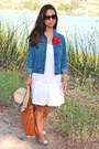White-j-crew-dress-navy-abercrombie-and-fitch-jacket-brown-michael-kors-bag