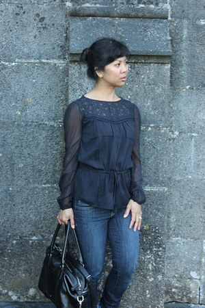 blue Anthropologie jeans - black Cole Haan bag - navy blue A-wear blouse